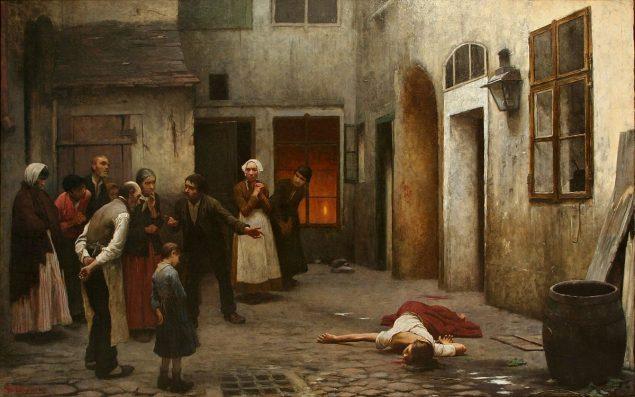 Jakub Schikaneder, Omicidio in casa (1890)