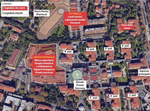 Pianta nuovo ospedale - da Il Tirreno